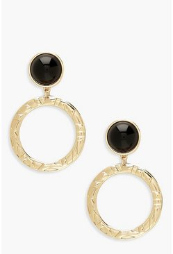 Womens Gold Black Stud Textured Circle Earrings