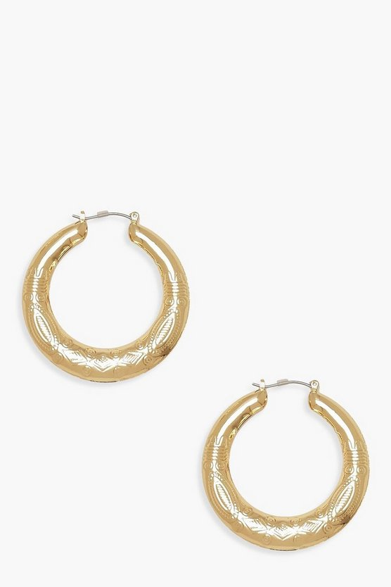 Womens Gold Boho Chunky Hoops