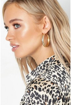 Womens Gold Speckled Chunky Bar Hoops