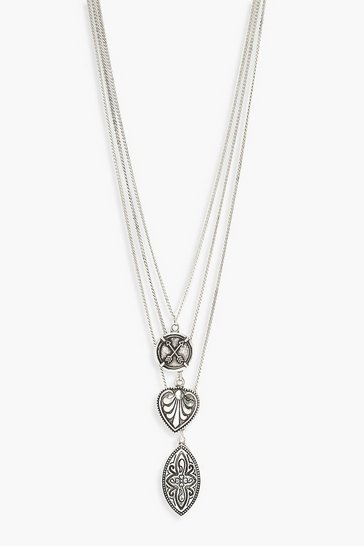 Womens Boho Silver Layered Necklace