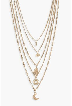 Womens Gold Cosmic Charm Multi Layered Necklace