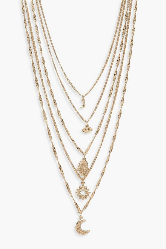 Collier multi rangs breloque cosmique, Or, Femme