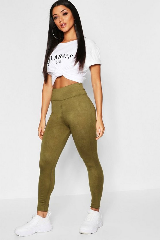 Womens Khaki Basic High Waist Leggings