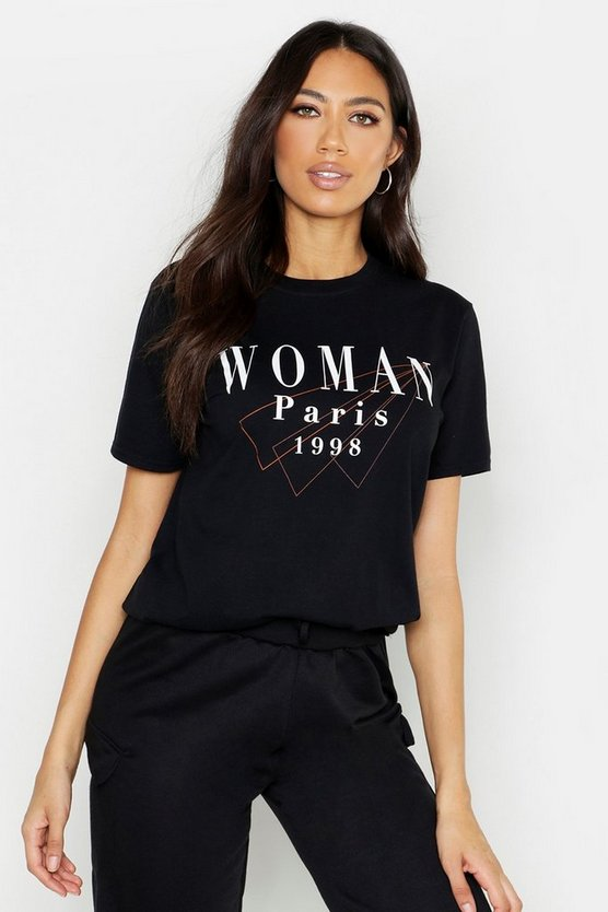 Womens Black Woman Paris Slogan T-Shirt