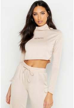 Womens Beige Woman Cropped Neck Sweat