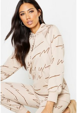 Beige Woman Script All Over Print Oversized Hoodie