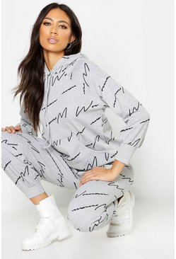 Womens Grey Woman Script All Over Print Oversized Hoodie
