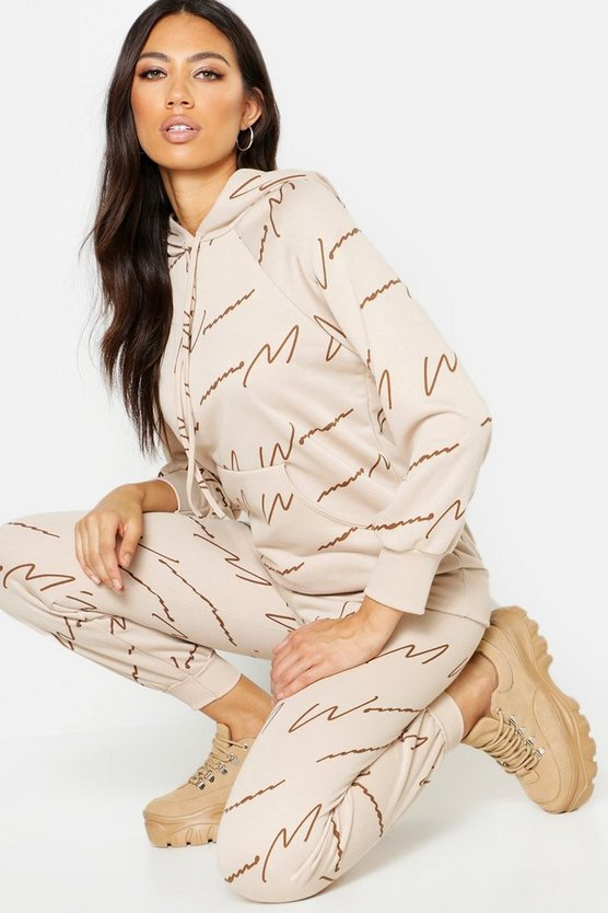 Beige Woman Script All Over Print Joggers