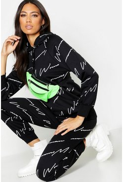 Womens Black Woman Script All Over Print Joggers