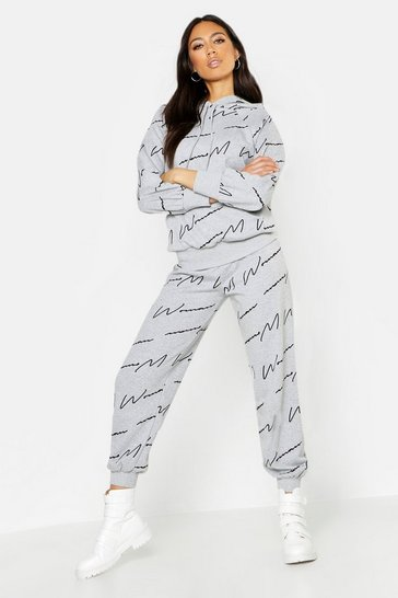 Womens Grey Woman Script All Over Print Joggers
