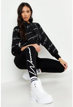 Womens Black Woman Script Leggings