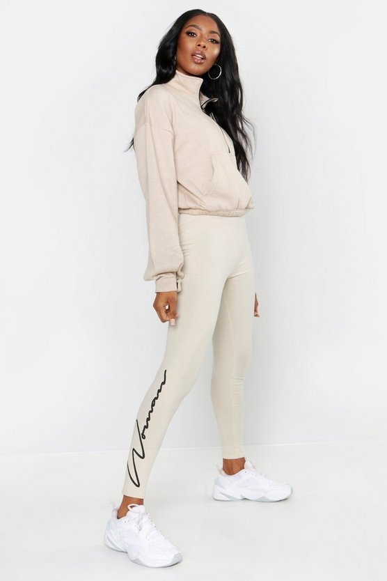 Womens Sand Woman Script Leggings