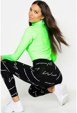 Womens Black Woman Script All Over Print Leggings