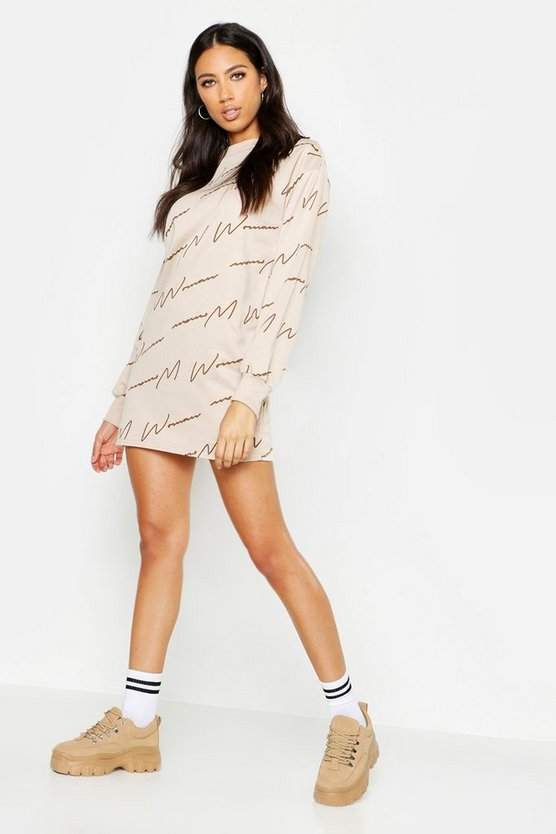 Womens Beige Woman Script All Over Print Sweat Dress