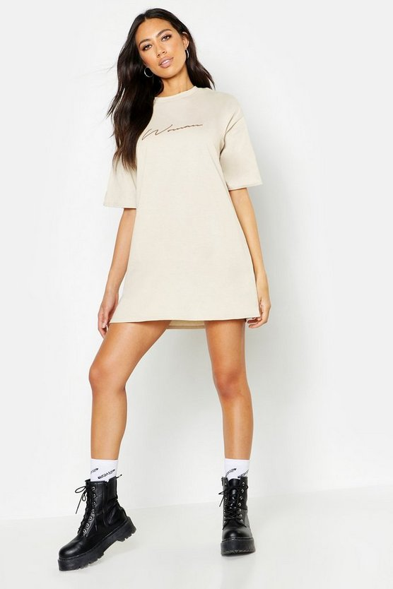 Beige Woman Script T-Shirt Dress