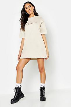 Woman Script T-Shirt Dress