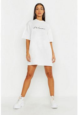 Womens White Woman Script T-Shirt Dress