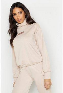 Womens Beige Woman Slogan Neck Sweat