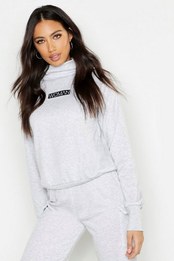 Grey Woman Slogan Neck Sweat