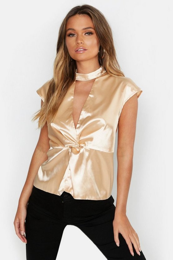 Womens Champagne Satin Choker Twist Detail Top