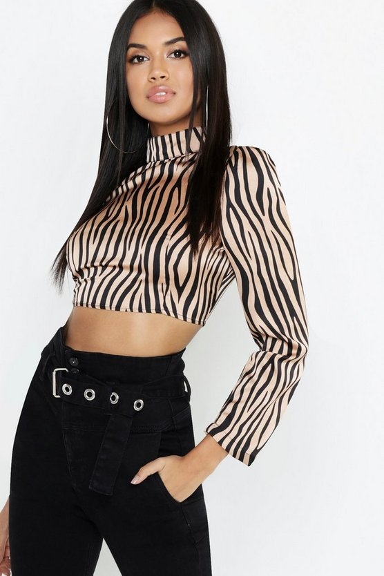 Womens Blush Satin Zebra Print High Neck Crop