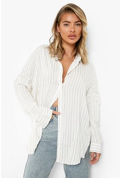 Womens Beige Oversized Split Side Cotton Feel Stripe Shirt