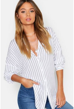 Womens Black Oversized Split Side Cotton Feel Stripe Shirt