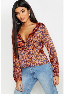 Womens Cobalt Leopard Satin Wrap Blouse