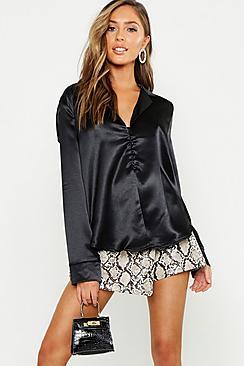 Textured Hammered Satin Revere Button Shirt