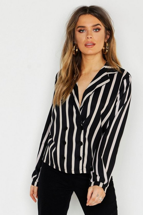 Womens Black Stripe Revere Collar Button Blouse