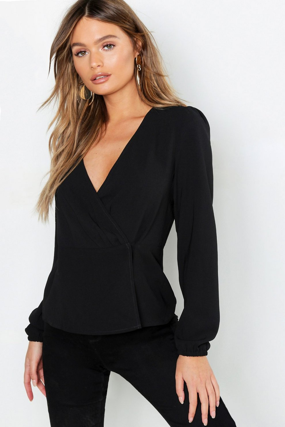 a961c72ce8122 Womens Black Wrap Peplum Hem Blouse