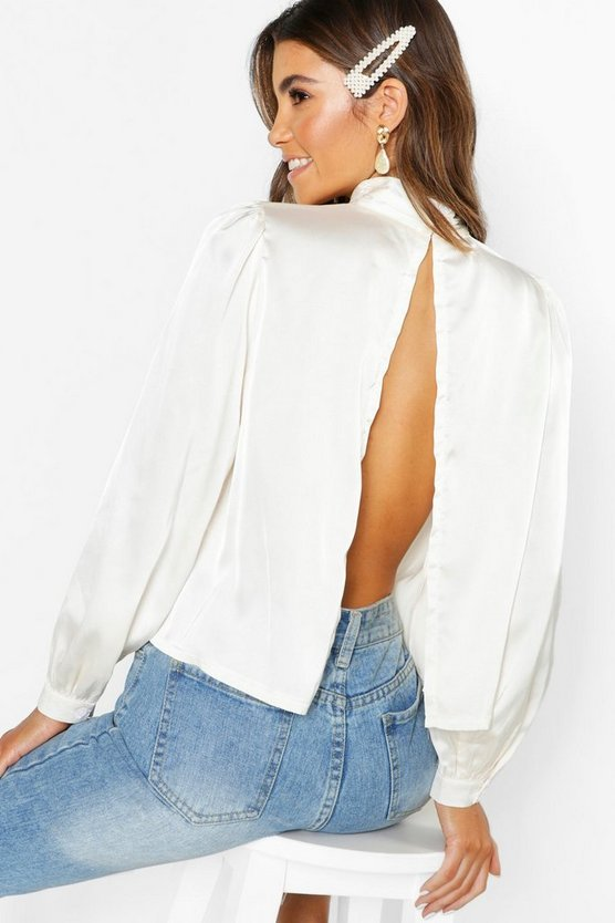 Satin Turtle Neck Open Back Blouse