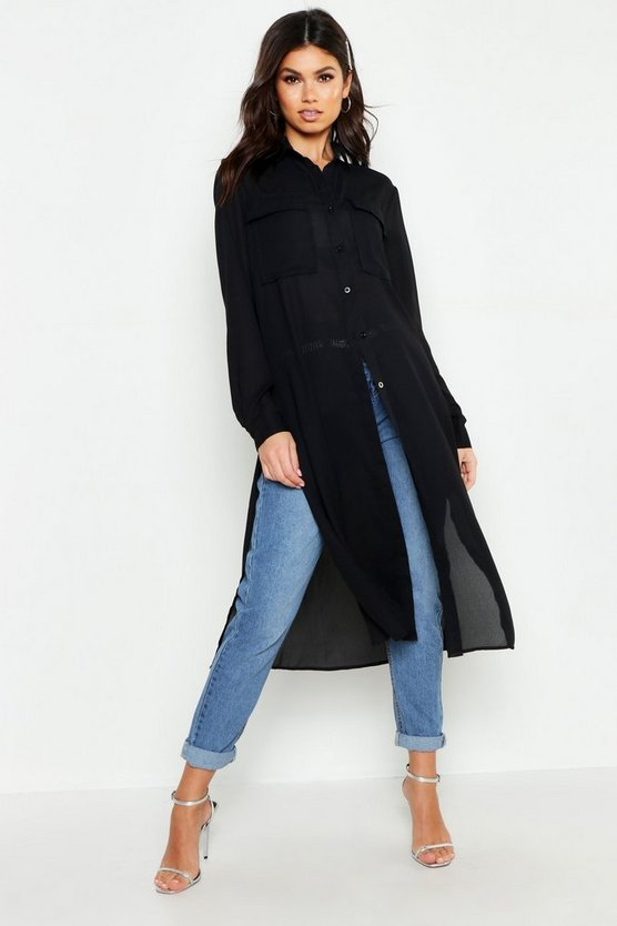 Womens Black Woven Maxi Utility Shirt