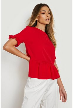 Red Woven Button Back Shell Top