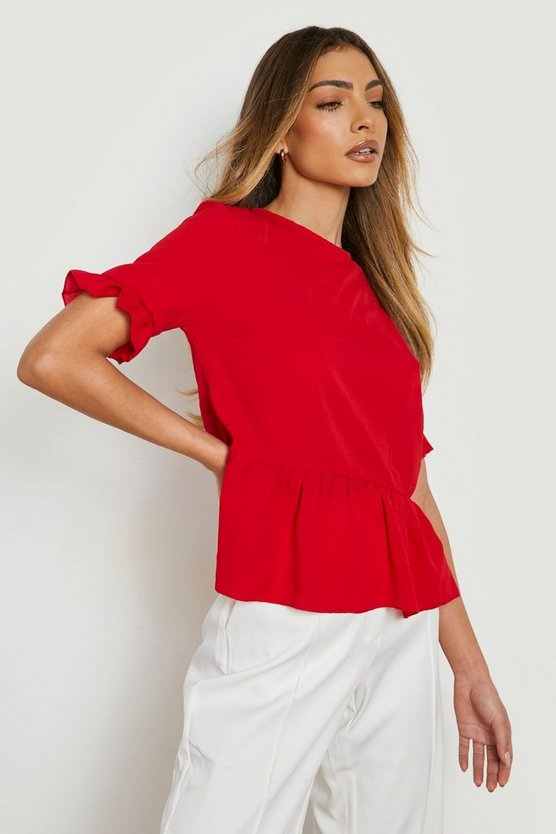 Woven Button Back Shell Top