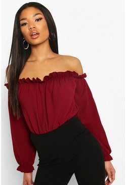 Berry Off The Shoulder Woven Bodysuit