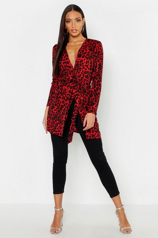 Womens Red Leopard Print Belted Kimono