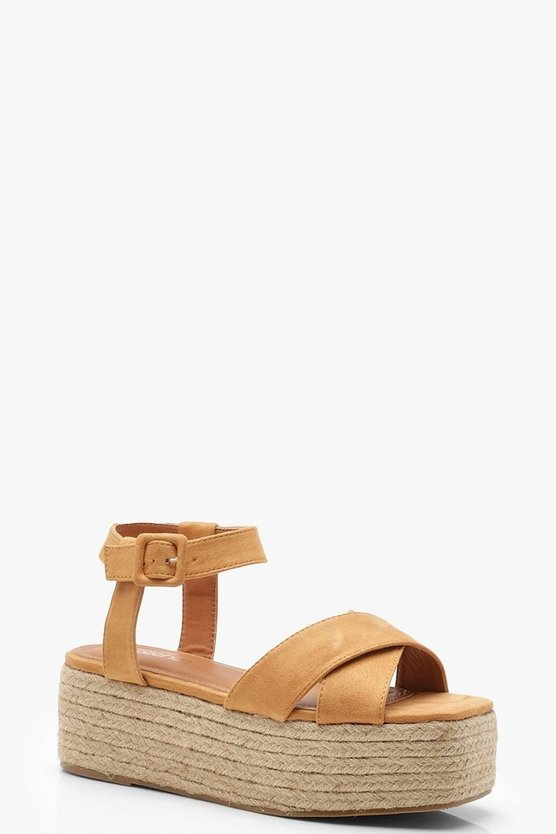 Tan Cross Front Espadrille Flatforms