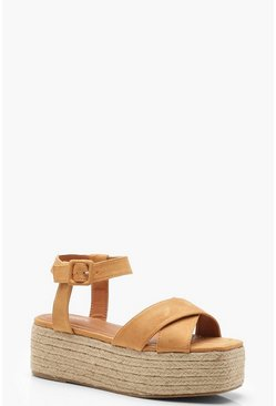Womens Tan Cross Front Espadrille Flatforms