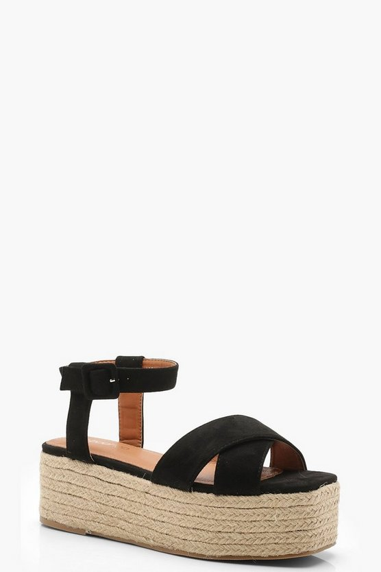 Womens Black Cross Front Espadrille Flatforms