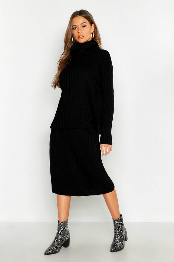 Womens Black Rib Neck Knitted Skirt Co-Ord