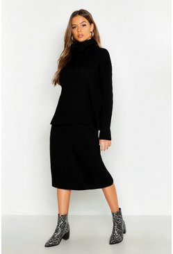 Womens Rib Neck Knitted Skirt Co-Ord