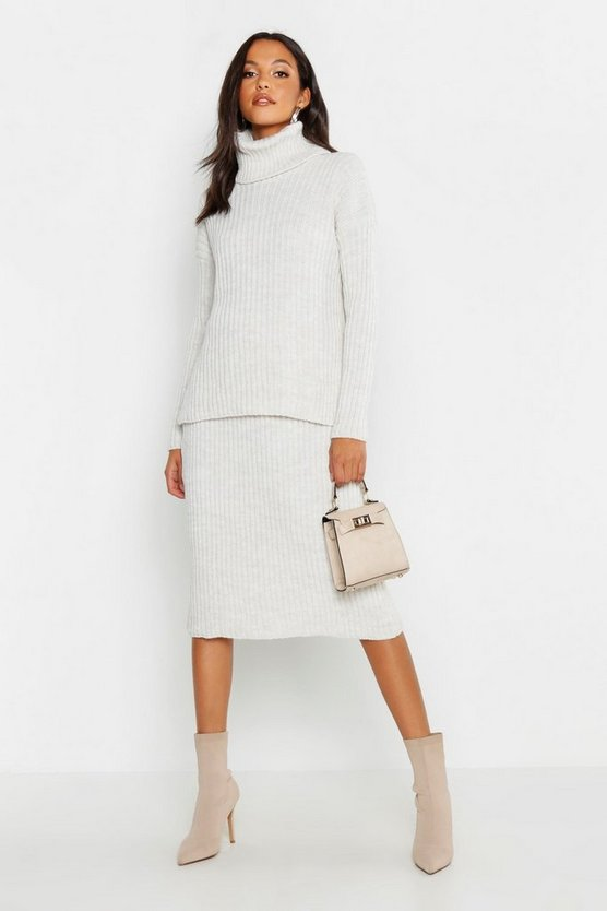 Rib Neck Knitted Skirt Co-Ord