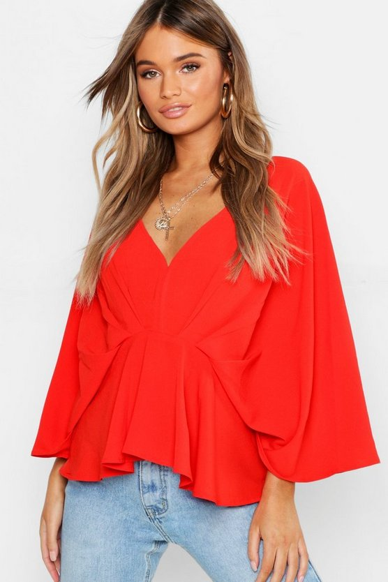 Pleat Front Batwing Blouse