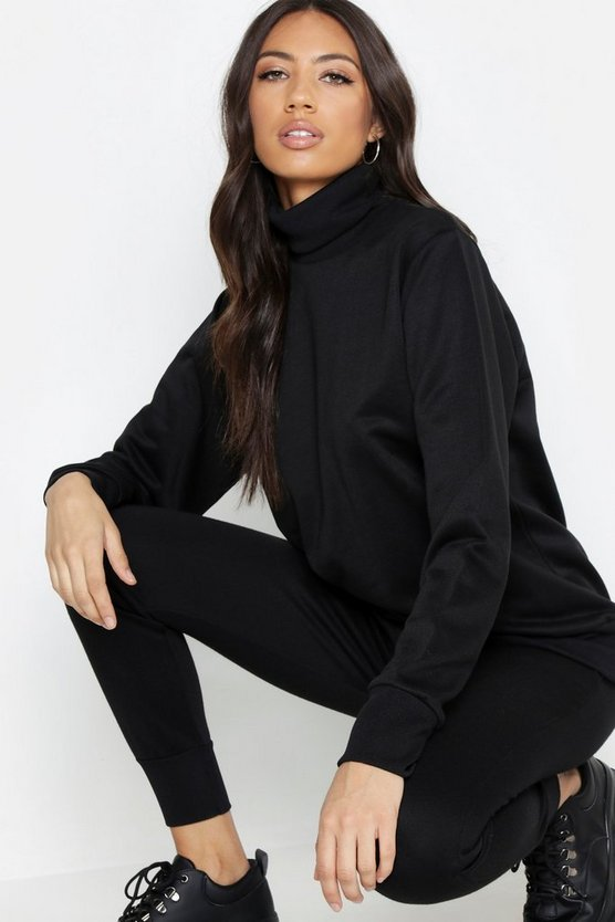 Black Fit High Neck Gym Sweat