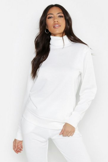 Womens Cream Fit High Neck Gym Sweat