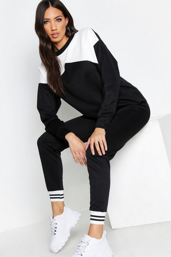 Womens Black Contrast Tracksuit