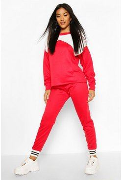 Red Colour Block Contrast Tracksuit