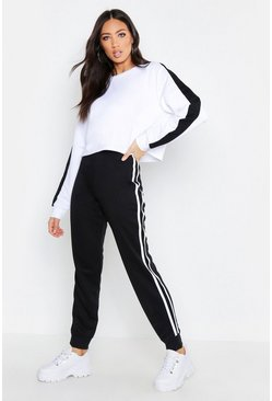 Womens Black Fit Side Stripe Joggers