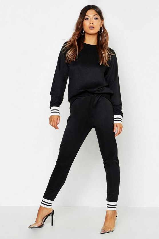 Womens Black Fit Stripe Cuff Tracksuit